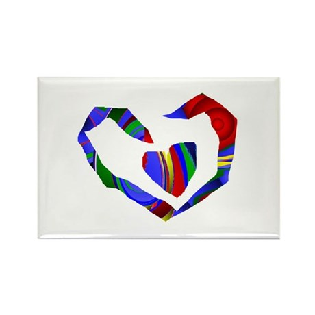 Abstract Heart Rectangle Magnet (10 pack)