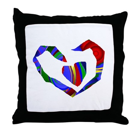 Abstract Heart Throw Pillow