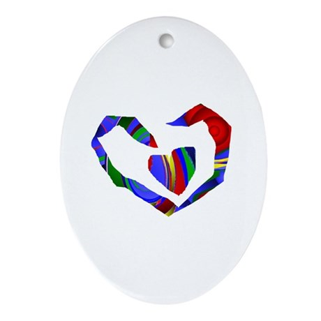 Abstract Heart Oval Ornament