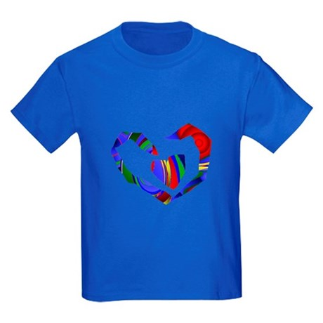Abstract Heart Kids Dark T-Shirt