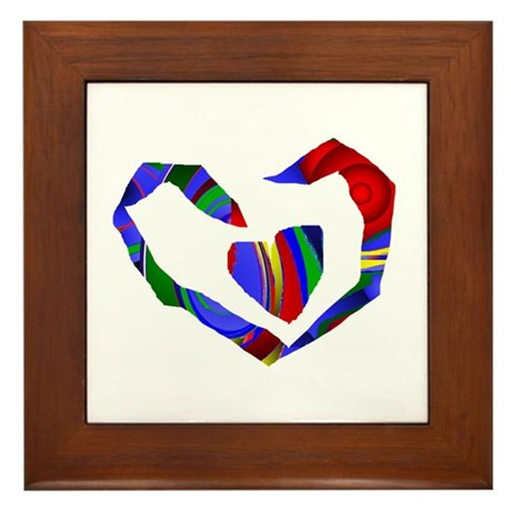 Abstract Heart Framed Tile