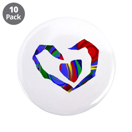 "Abstract Heart 3.5"" Button (10 pack)"