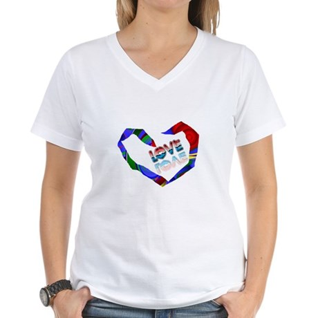 Abstract Love Heart Women's V-Neck T-Shirt