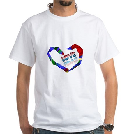 Abstract Love Heart White T-Shirt