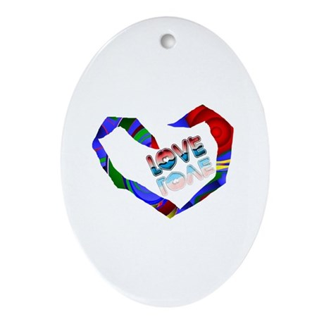 Abstract Love Heart Oval Ornament