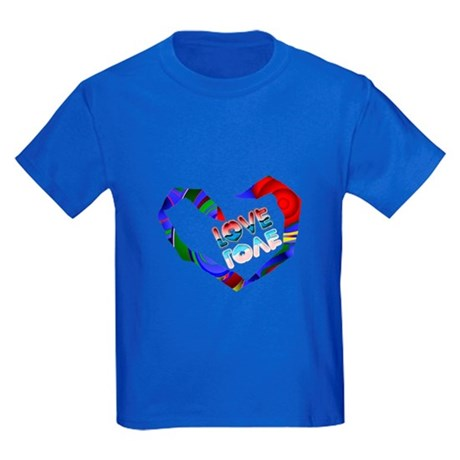 Abstract Love Heart Kids Dark T-Shirt