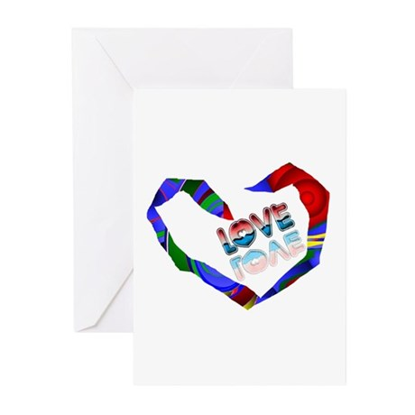 Abstract Love Heart Greeting Cards (Pk of 10)