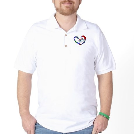 Abstract Love Heart Golf Shirt