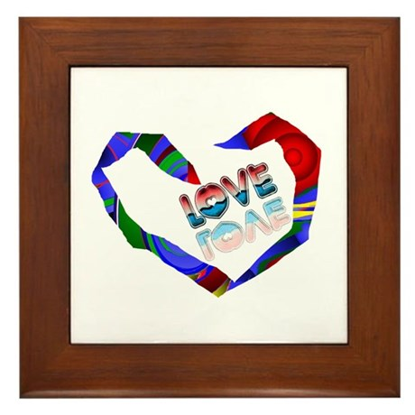 Abstract Love Heart Framed Tile
