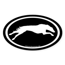 Running Borzoi Oval (white on blk.) Oval Decal