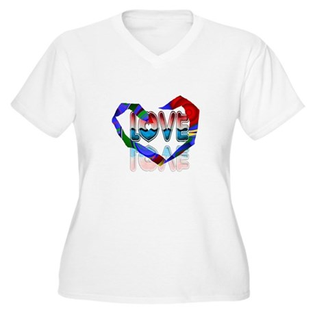 Abstract Love Heart Women's Plus Size V-Neck T-Shi