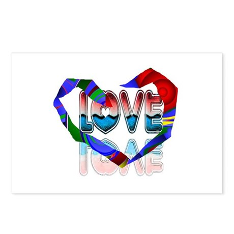 Abstract Love Heart Postcards (Package of 8)