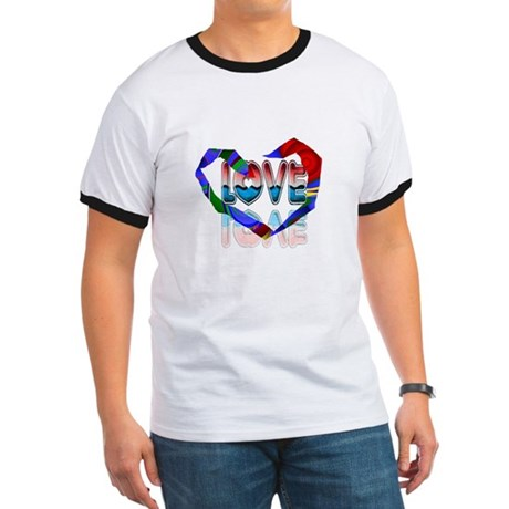 Abstract Love Heart Ringer T