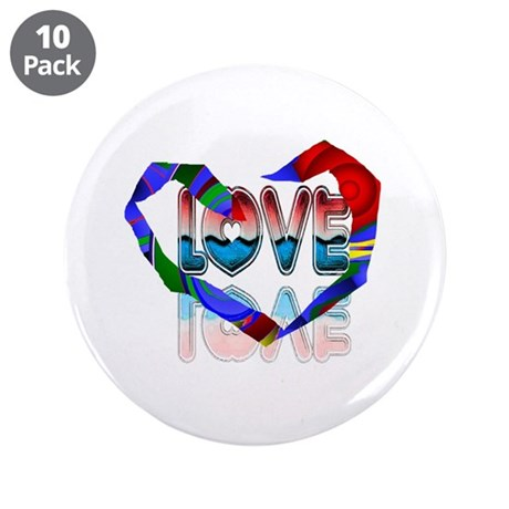 "Abstract Love Heart 3.5"" Button (10 pack)"