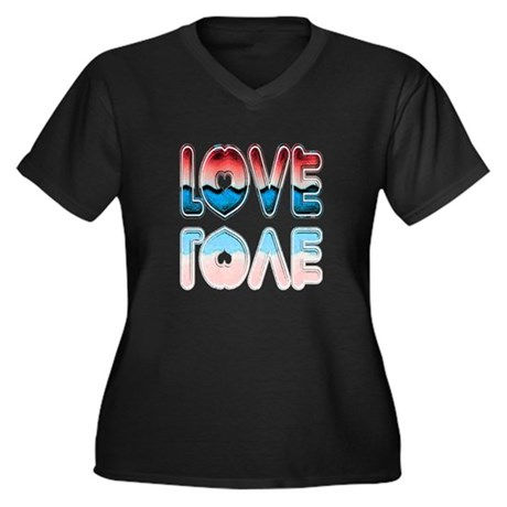 Valentine Love Women's Plus Size V-Neck Dark T-Shi