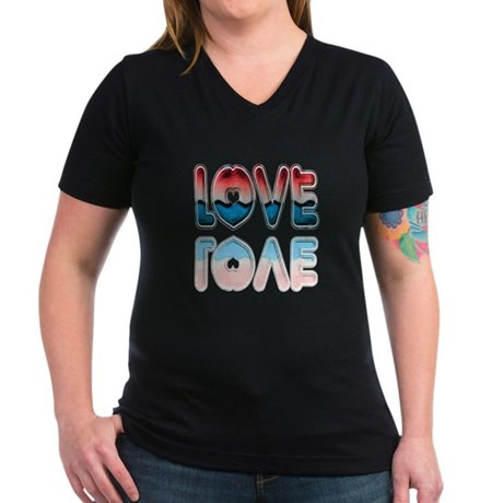 Valentine Love Women's V-Neck Dark T-Shirt