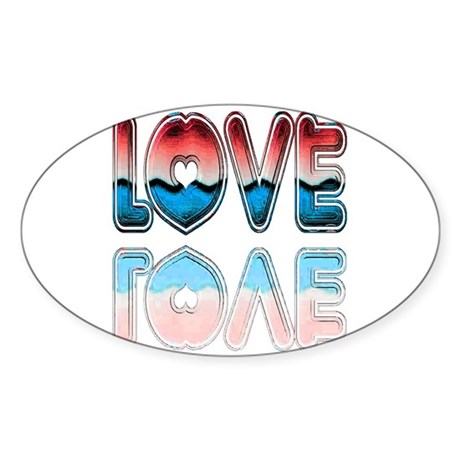 Valentine Love Oval Sticker