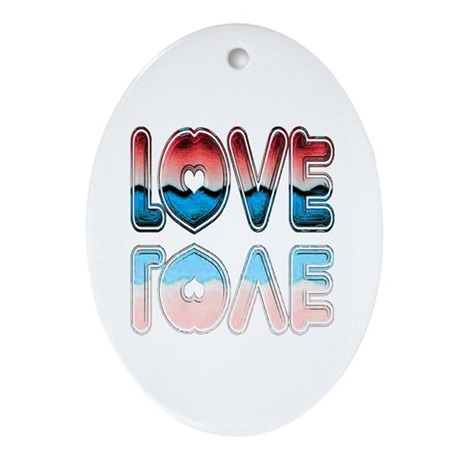 Valentine Love Oval Ornament