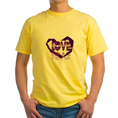 Abstract Love Heart Yellow T-Shirt