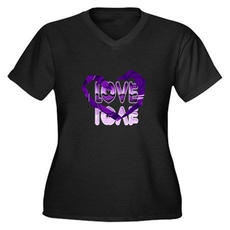 Abstract Love Heart Women's Plus Size V-Neck Dark