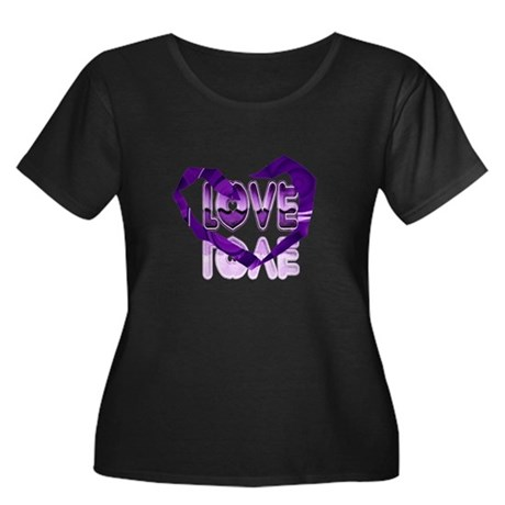 Abstract Love Heart Women's Plus Size Scoop Neck D