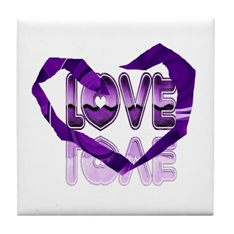 Abstract Love Heart Tile Coaster