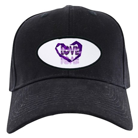 Abstract Love Heart Black Cap