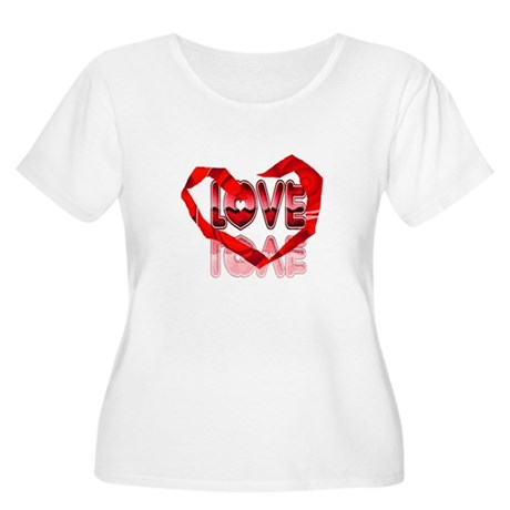 Abstract Love Heart Women's Plus Size Scoop Neck T