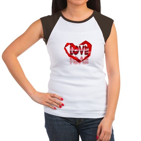 Abstract Love Heart Women's Cap Sleeve T-Shirt