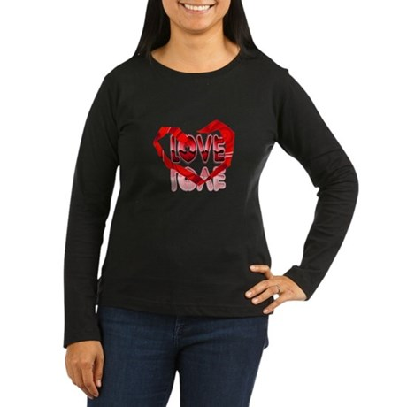 Abstract Love Heart Women's Long Sleeve Dark T-Shi