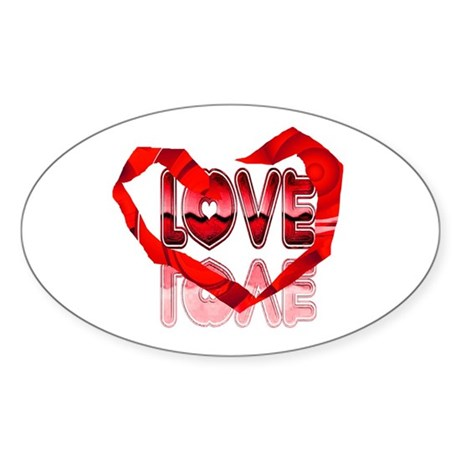 Abstract Love Heart Oval Sticker