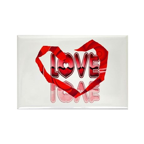 Abstract Love Heart Rectangle Magnet