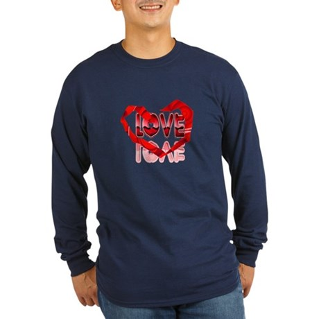 Abstract Love Heart Long Sleeve Dark T-Shirt