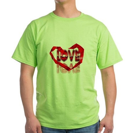 Abstract Love Heart Green T-Shirt