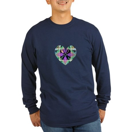 Kaleidoscope Heart Long Sleeve Dark T-Shirt