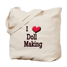I Love (Heart) Doll Making Tote Bag