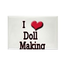 I Love (Heart) Doll Making Rectangle Magnet (10 pa