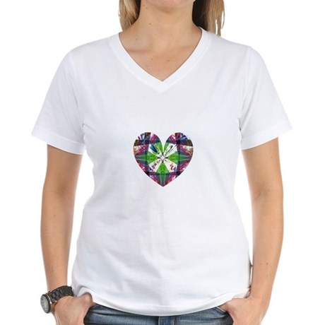 Kaleidoscope Heart Women's V-Neck T-Shirt