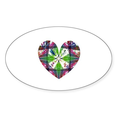 Kaleidoscope Heart Oval Sticker