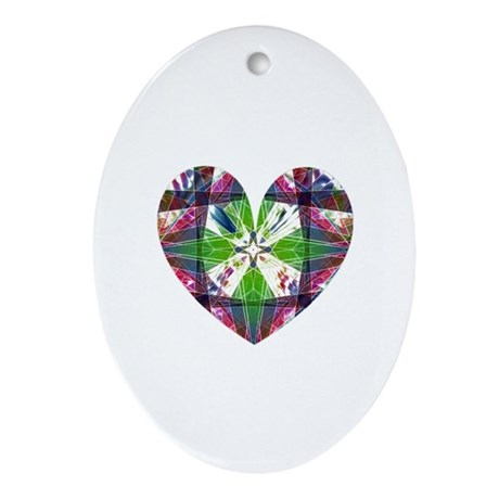 Kaleidoscope Heart Oval Ornament