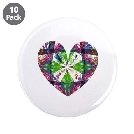 "Kaleidoscope Heart 3.5"" Button (10 pack)"