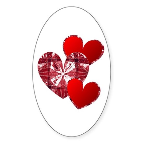 Country Hearts Oval Sticker