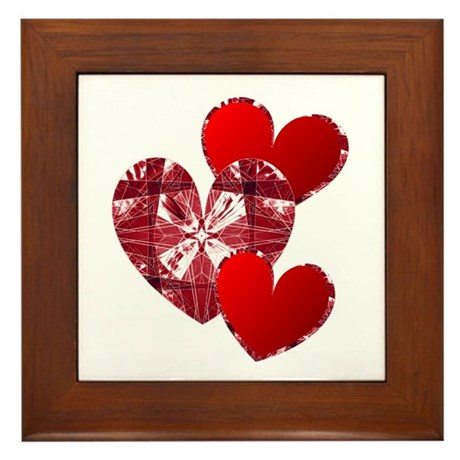 Country Hearts Framed Tile