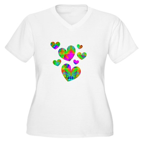 Kaleidoscope Hearts Women's Plus Size V-Neck T-Shi