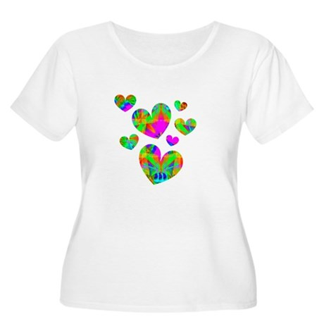 Kaleidoscope Hearts Women's Plus Size Scoop Neck T