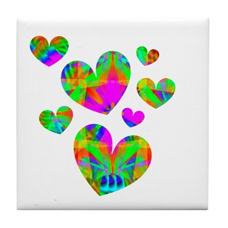 Kaleidoscope Hearts Tile Coaster