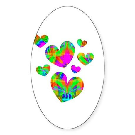 Kaleidoscope Hearts Oval Sticker