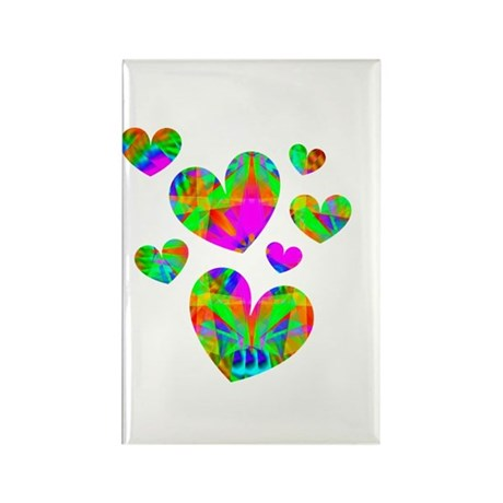 Kaleidoscope Hearts Rectangle Magnet