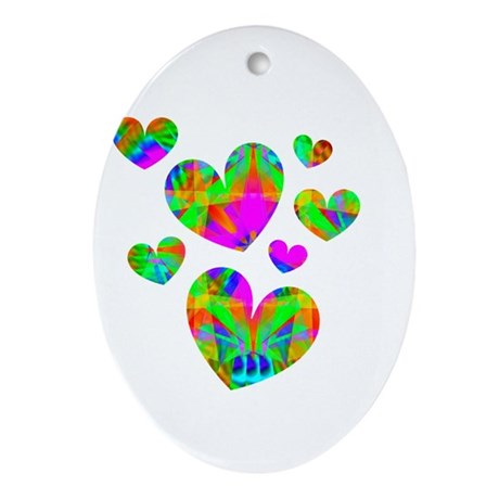 Kaleidoscope Hearts Oval Ornament