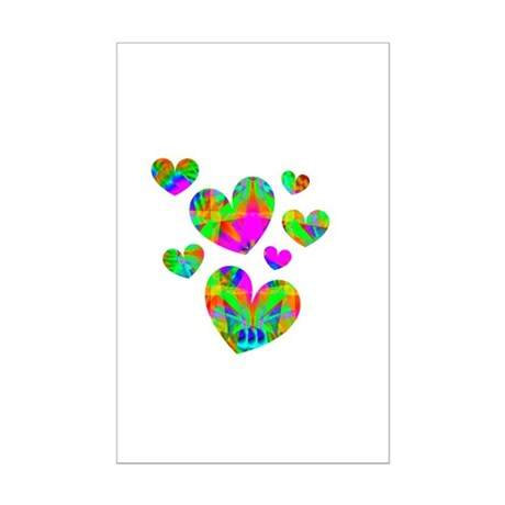 Kaleidoscope Hearts Mini Poster Print